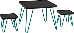 Cosco Betty Retro Style Kids Table and Stools Set, Espresso/Teal