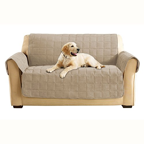 (SureFit Quilted Soft Suede Non-Slip Tan Loveseat Furniture Cover)