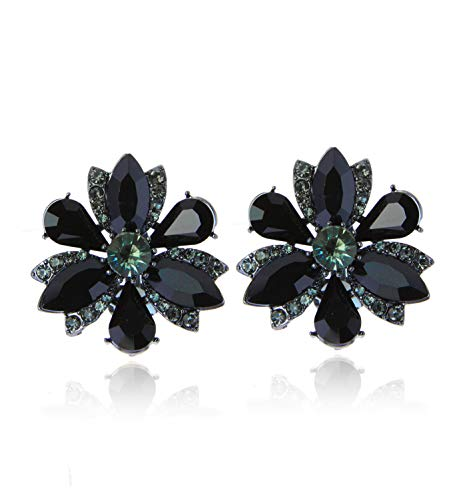 Earrings Clip Flower Rhinestone - SP Sophia Collection Women's Stunning Crystal Statement Floral Stud Clip On Earrings in Black