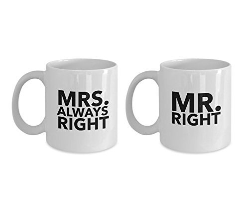 Mr. RIGHT & Mrs. ALWAYS RIGHT Mug - Gift Set of 2 - Couple Coffee Mugs - 11oz 15oz White Coffee Tea Cups
