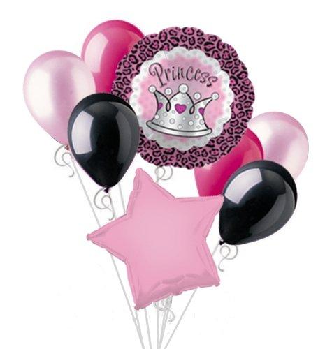 Princess Balloon Bouquet Set Pink Cheetah Print Crown Party Decoration 8pc -