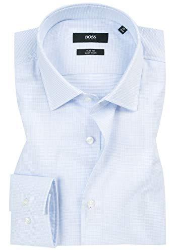 Hugo Boss Men's Textured Jenno Slim Fit Dress Shirt (16, Blue)