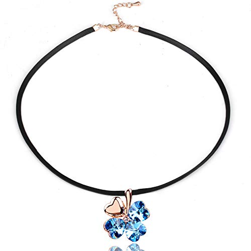 Black Choker Necklace - Crystal from Swarovski Rose Gold Plated Pendant Necklace for Women Mom Gift (Four-leaf clover) ()