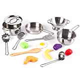 KIDAMI 16 Pieces Kitchen Pretend Toys, Stainless Steel Pots & Pans Playset with Play Foods, Matching Kids' Play Kitchen (5.1' in Diameter)