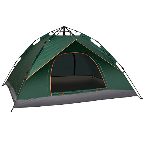 Newdora Waterproof Tent, 3 People Camping Tent, Backpacking Tent, Instant Dome, Easy Set Up, UV Protection for Camping, Festivals, Beach Goers- 1 Room, Green