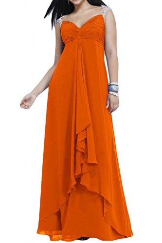 Toscana de novia vestidos de gasa elegante Rueckenfrei por la noche de fútbol joven novia de larga distancia a sus vestidos de fiesta naranja