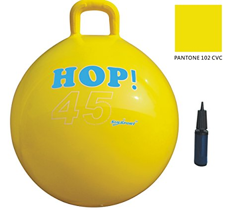 SUESPORT Hopper Ball Kit,Pump Included, 18in/45cm, Yellow, Hop Ball, Kangaroo Bouncer, Hoppity Hop, Sit and Bounce, Jumping Ball, 2-Size by 3-Colors Available