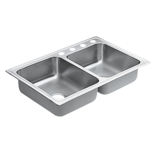 Moen G182334 1800 Series 18 Gauge Double Bowl Drop In Sink, Stainless Steel