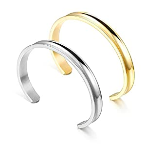 WUSUANED Bland Cuff Stainless Steel Brushed Edges for Women Girls Bracelet Bangle