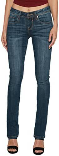 TheMogan Women's Lean & Long Shape Indigo Washed Mid Rise Straight Leg Jeans