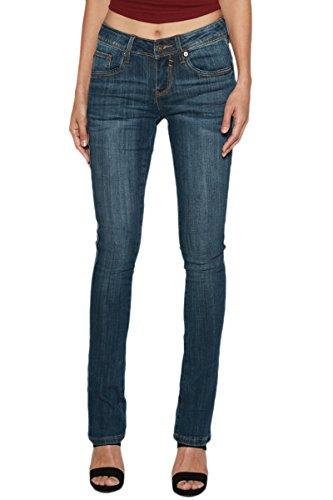 Washed Straight Leg Jeans - TheMogan Women's Lean Long Indigo Dark Washed Denim Straight Leg Jeans Dark 11