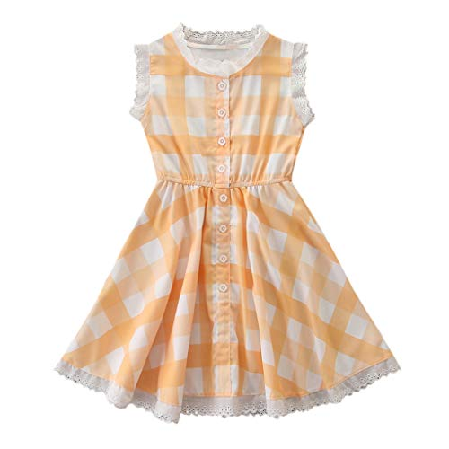 0-7T Toddler Kid Baby Girls Cute Plaid Lace Hollow Brim Dresses Summer Cotton Button Down Sleeveless Swing Comfy Dresses (Yellow, 3-4 Years)
