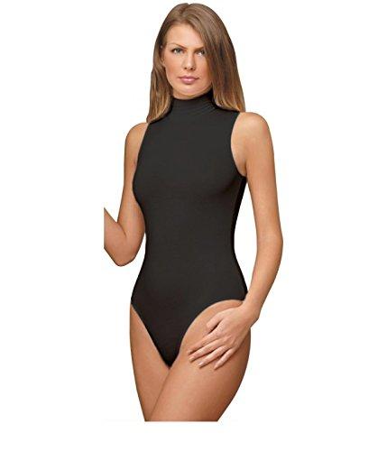 [NBB Women Basic Solid Sleeveless Turtle Neck Cotton Bodysuit Lingerie] (Turtles Suit)
