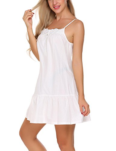Langle Womens Victorian Nightgowns Sleeveless Sleepwear Short Chemise (White, Small)