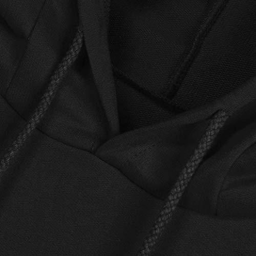Para Tamaño Tops 2 Mujer Capucha Invierno Xx Otoño De Sudadera Negro Larga Manga Imprimir Gato Color Con Pullover Blusa large Moda Bolsillos 2017 Canguro qY14ff