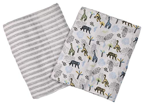 Buttons & Stitches 2 Pack Muslin Blankets, Safari