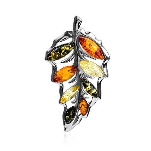- Ian and Valeri Co. Multicolor Amber Sterling Silver Leaf Pin Brooch
