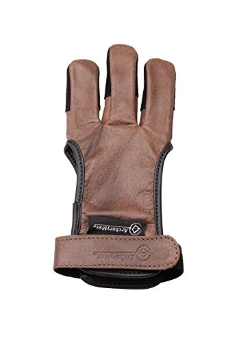 ArcheryMax Handmade Brown Leather Three Finger Archery Gloves, Large