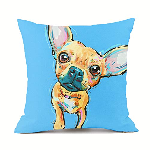 Redland Art Chihuahua Dogs Throw Pillow Covers Cotton Linen Sofa Decorative Cushion Pillow Cases for Home Decor 18 X 18 Inch (Blue)