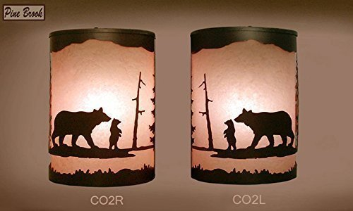 Pair of 2 Rustic Light Bear Wall Sconce Lamp, Cabin Decor Lamp Left & Right Facing
