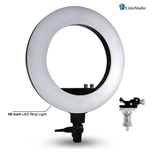 LimoStudio 18'' LED Ring Light Bi-Color Dimmable Photo Studio for YouTube Video and Camera Photography Portrait, AGG2372V2 by LimoStudio