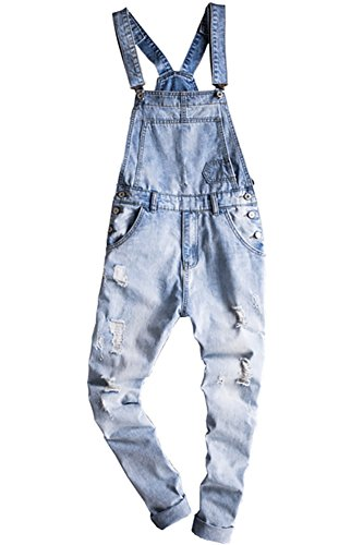 - Sokotoo Men's Light Blue Slim Snow Washed Denim Bib Overalls Size 38