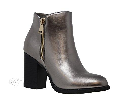 MVE Shoes Women's Crisscross Buckle Bootie Side Zip High Stacked Block Heel Ankle Booties, Pewter Size 9 -