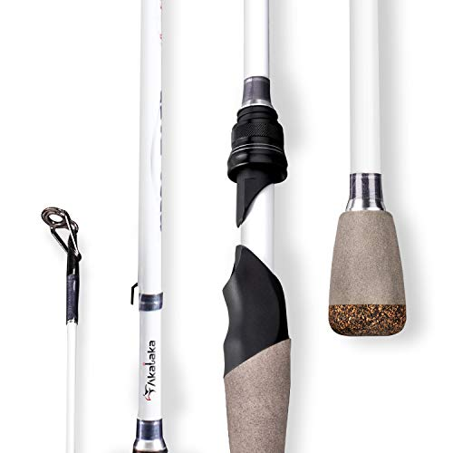 Akataka M'Wave Bass Fishing Rod - 2pcs Collaspible Casting Rod Spinning Rod with 30Ton Carbon Fiber,Durable Reel Seat, Efficient Heat Dissipation Guide (Spinning-7'1' Medium-White)