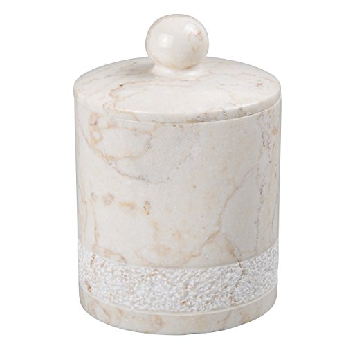 - Creative Home Champagne Marble Stone Cotton Ball Holder-Hand Carved Collection