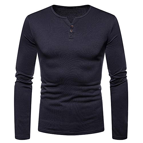 Mens Blouse, Tops for Men Casual Brushed V-Neck Button Shirt Top Blouse(XL,Dark Gray)