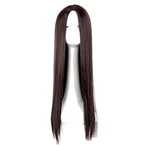 Black Wig Synthetic Heat Resistant Long Straight Middle Part Line Costume Cosplay Hair 26 Inches Salon Party Hairpieces,Brown,26inches -