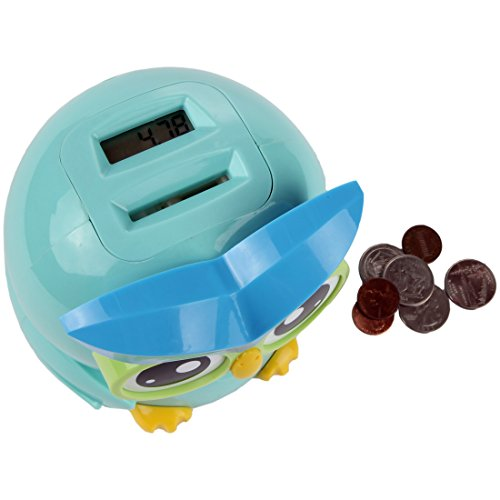 (Lily's Home Kid's Money Counting Owl Digital Coin Bank, Counts U.S. Pennies, Nickels, Dimes, Quarters, Half Dollars, and Dollar Coins, Ideal for Personal Savings (4.75