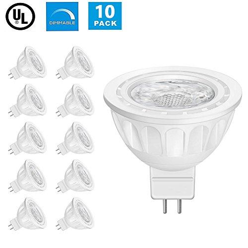 Lintelek MR16 Ampoules LED, 12 Volts, 5W 500lm, 50W Ampoules Halogènes Equivalentes, 4000K Blanc Neutre, Ampoules LED MR16 GU5.3, 40 °Angle d'éclairage, Non-Dimmable, Homologuées UL, Lot de 10