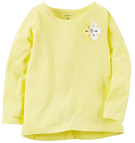 Carter's Girls' Yellow Long Sleeve Floral Embellished Tee (5T)