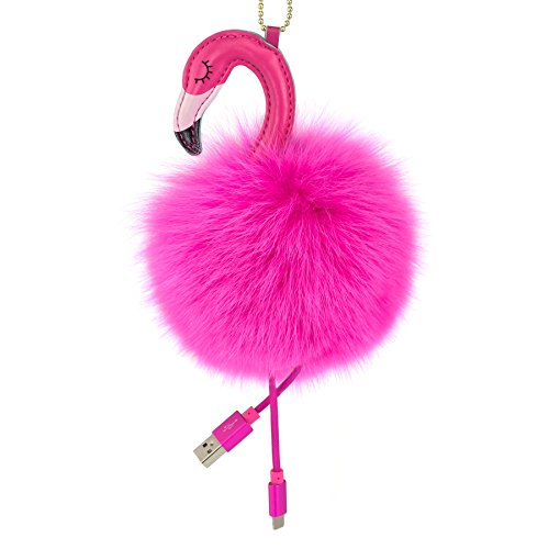 2-in-1 Flamingo Real Fur Pom Poms Keychain Power Bank Charger
