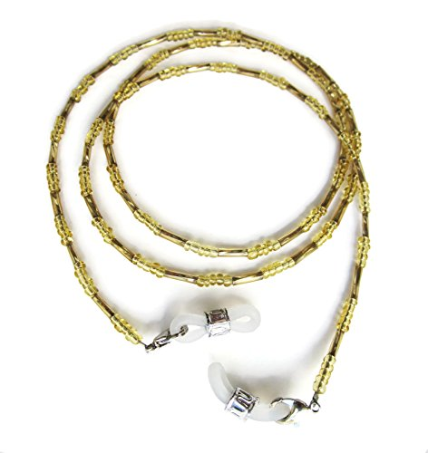 Silk Rose Women's Eyeglass Beaded Chain and Badge Holder for IDs and Cards, Gold