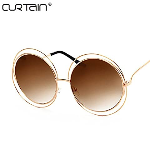 2017 Vintage Round Big Size Oversized lens Mirror Brand Designer Sunglasses, Gold frame double brown, Lady Cool Retro UV400 Women SunGlasses - Records Vintage T-shirt