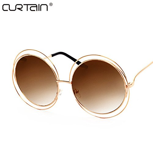 2017 Vintage Round Big Size Oversized lens Mirror Brand Designer Sunglasses, Gold frame double brown, Lady Cool Retro UV400 Women SunGlasses - Rayban Polaroid
