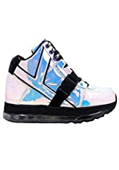 Dance the night away in these super photogenic light up Qozmo Aiire Hologram sneakers by Y.R.U. These super perky rave sneakers feature full-on pink atlantis iridescent hologram PU leather upper with lace up closure, contrast black buckle str...
