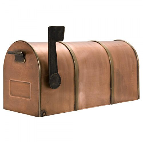 (Naiture Oversized Rustic Post Mount Copper Mailbox with Brass)
