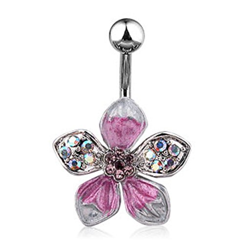 tropical flower belly ring - 3