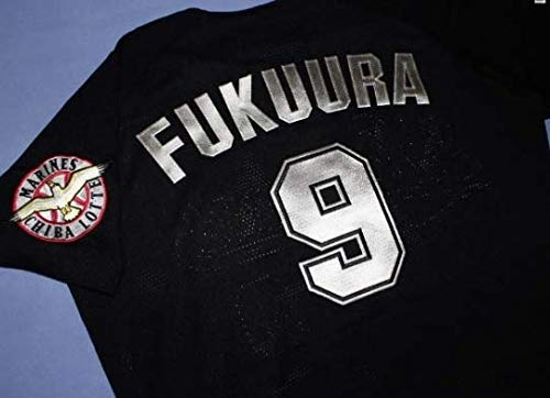 千葉ロッテマリーンズ #9 福浦和也 2000-2004年 初代黒 ビジターユニフォーム 銀ラメ刺繍 Lサイズ