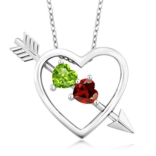 (Gem Stone King 925 Sterling Silver Green Peridot and Red Garnet Heart & Arrow Pendant Necklace 1.05 Ctw with 18 Inch Silver Chain )