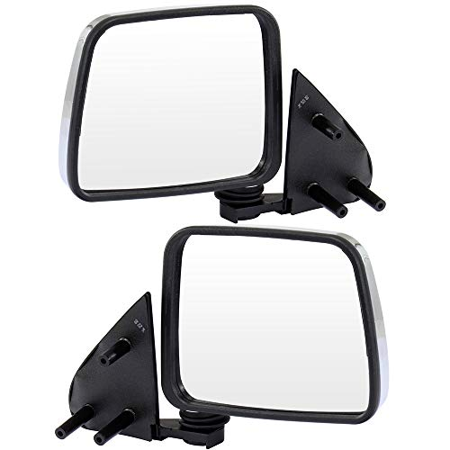 SCITOO Driver Side and Passenger Side Door Mirror Manual Folding Chrome Rear View Mirrors for 1986-1997 Nissan Pickup 1986-1994 Nissan D21 1987-1995 Nissan Pathfinder