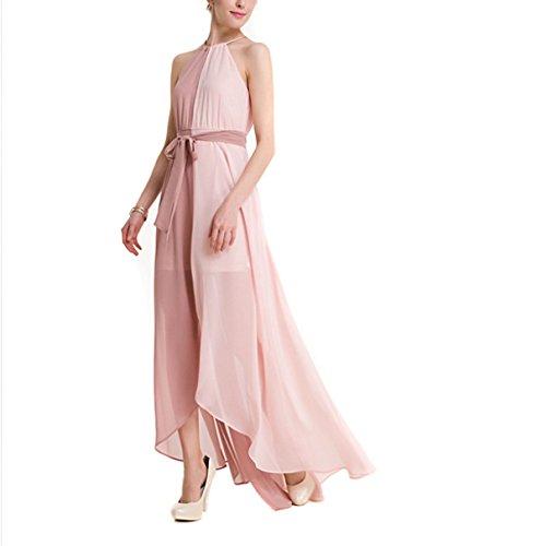 2017 Mujer Verano Colores Mezclados Gasa Vestido Lazo Poner En Unas Grandes Extremos Split Halter Vestidos Pink