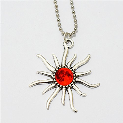 Sun Necklace, Red Moon Space Jewelry Glass Galaxy Pendant, Red Moon Universe Jewelry Carina Nebula Galaxy Necklace, Space Jewelry Art Pendant Galaxy Jewelry, Glass Pendant, Picture Pendant
