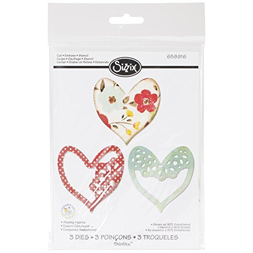 UPC 841182075437, Sizzix Thinlits Dies, Alluring Hearts, 3-Pack
