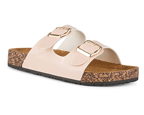 Twisted Women's Payton Double Strap Cork Sole Sandal - PAYTON46 Blush Patent, Size 10 - Pink Strap Sandals