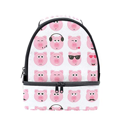 (Insulated Double Pig Smiley Faces Lunch Tote Outdoor Bag Portable Lunch Box)