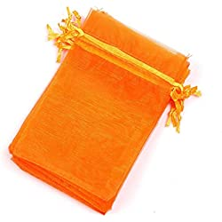 "Dealglad 100pcs Drawstring Organza Jewelry Candy Pouch Party Wedding Favor Gift Bags (4x6"", Orange)"